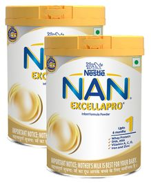 Nestle Nan Excella Pro 1 Infant Formula Powder - Upto 6 months, Stage 1, 400g Tin Pack(Pack of 2)
