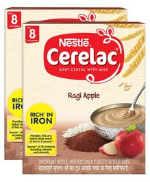 Nestle Cerelac Fortified Baby Cereal With Milk Multi Ragi Apple From 8 Months 300gm Bib Pack(Pack of 2)