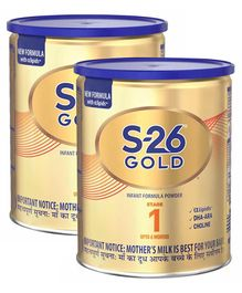 Nestle S-26 Gold Infant Formula Powder Stage 1 Tin Pack - 400 g (Pack of 2)