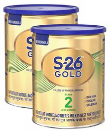 Nestle S-26 Gold Follow Up Formula Powder Stage-2 Tin Pack - 400 gm (Pack of 2)