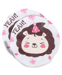 Adore Baby Shower Cap Cartoon Yeah Lion Print - White & Brown Pack Of 2