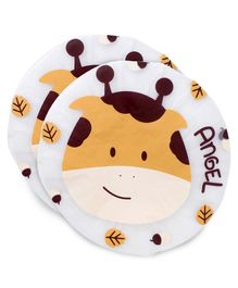 Adore Baby Shower Cap Cartoon Angel Print - White & Brown Pack Of 2