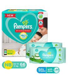 Pampers Diaper Pants New Born - 66 Pieces & Pampers Baby Wipes with Aloe - 144 pcs