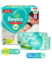 Pampers Pant Style Diapers Extra Small Size - 86 Pieces & Pampers Baby Wipes with Aloe - 144 pcs