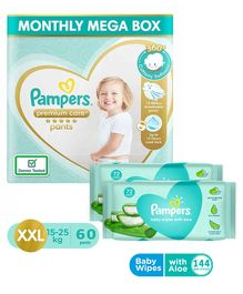 Pampers Premium Care Pant Style Diapers XXL Size Monthly Pack - 60 Pieces & Pampers Baby Wipes with Aloe - 144 pcs