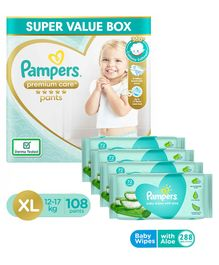 Pampers Premium Care Pant Style Diapers Super Value Pack XL Size - 108 Pieces & Pampers Baby Wipes with Aloe - 144 pcs - (Pack of 2)