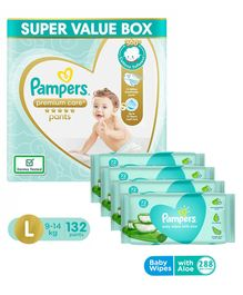Pampers Premium Care Pant Style Diapers Super Value Pack Large Size - 132 Pieces & Pampers Baby Wipes with Aloe - 144 pcs - (Pack of 2)