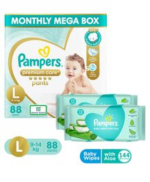 Pampers Premium Care Pant Style Diapers Large Size - 88 Pieces & Pampers Baby Wipes with Aloe - 144 pcs