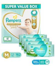 Pampers Premium Care Pant Style Diapers Super Value Pack Medium Size - 162 Pieces & Pampers Baby Wipes with Aloe - 144 pcs - (Pack of 2)
