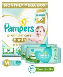 Pampers Premium Care Pant Style Diapers Medium Size Monthly Pack - 108 Pieces & Pampers Baby Wipes with Aloe - 144 pcs- (Pack of 2)
