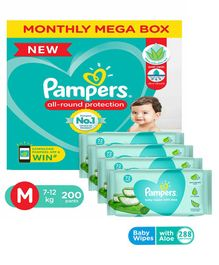 Pampers Diaper Pants Super Value Box Medium - Pack of 200 & Pampers Baby Wipes with Aloe - 144 pcs- (Pack of 2)