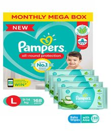 Pampers Diaper Pants Super Value Box Large - Pack of 168 Pieces & Pampers Baby Wipes with Aloe - 144 pcs- (Pack of 2)