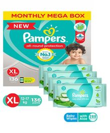 Pampers Diaper Pants Monthly Mega Box Extra Large - 136 Pieces & Pampers Baby Wipes with Aloe - 144 pcs- (Pack of 2)