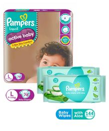 Pampers Active Baby Diapers Large - 78 Pieces & Pampers Baby Wipes with Aloe - 144 pcs