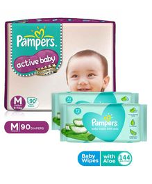 Pampers Active Baby Diapers Medium - 90 Pieces & Pampers Baby Wipes with Aloe - 144 pcs