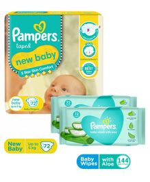 Pampers Active Baby Diapers New Born - 72 Pieces & Pampers Baby Wipes with Aloe - 144 pcs