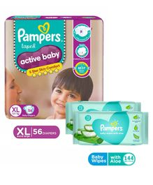 Pampers Active Baby Diapers XL Size - 56 Pieces & Pampers Baby Wipes with Aloe - 144 pcs