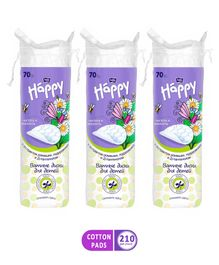 Bella Baby Happy Cotton Pads with D Panthenol, Camomile & Plantago Extract - 70 Pieces - (Pack of 3)