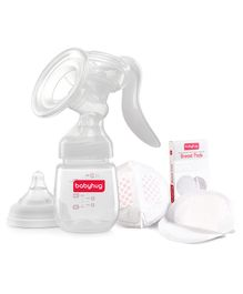 Babyhug Manual Breast Pump with Rotating Handle - White & 3D Contoured Disposable Breast Pads - Pack of 6 Combo