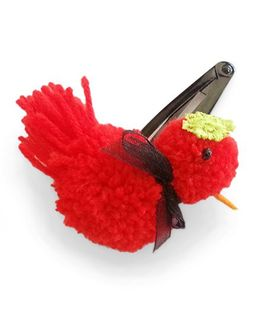 Soulfulsaai Pompom Bird Hairclip - Red
