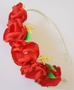 Soulfulsaai Floral Hairband - Red
