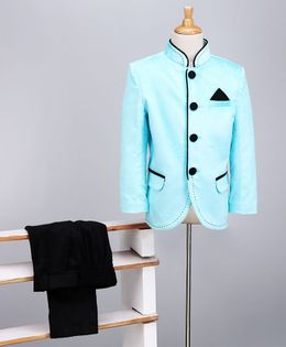 Babyoye Party Wear Full Sleeves Woven Jacket And Trouser - Sky Blue Black