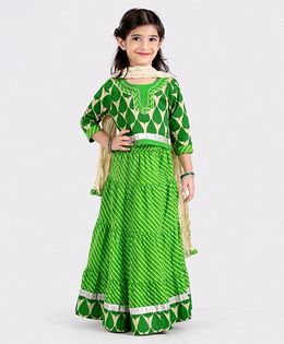 Babyhug Three Fourth Sleeves Leaf Print Lehenga Choli Set With Dupatta - Green