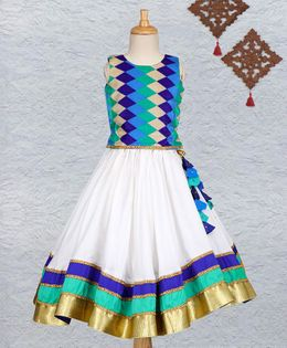 Li&Li Boutique Sleeveless Choli & Lehenga Set - Blue & Green