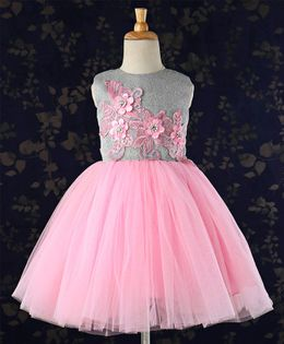 16f1ee9636c Bluebell Party Wear Sleeveless Frock Floral Patch - Pink