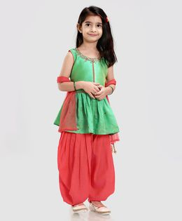 Babyhug Sleeveless Embroidered Kurti & Salwar With Dupatta - Green Red