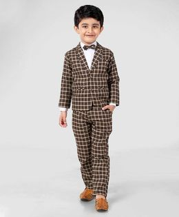 Rikidoos 3 Piece Full Sleeves Checks Party Suit With Bow - Brown