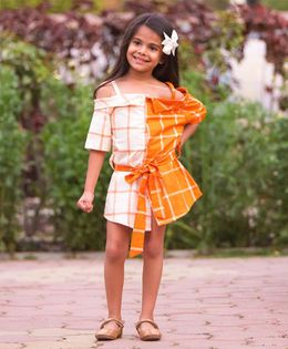 Fairies Forever Checks Cold Shoulder Dress - Orange