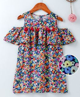 Soul Fairy Floral Print Cold Shoulder Short Sleeves Dress - Multicolor