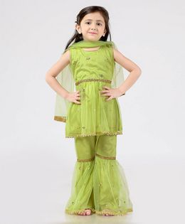 Ridokidz Embellished Sleeveless Kurti With Sharara & Dupatta Set - Green