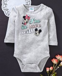 Fox Baby Full Sleeves Onesie Mickey & Minnie Mouse Print - Light Grey