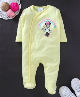 Fox Baby Full Sleeves Footed Romper Minnie Mouse Print - Light Yellow
