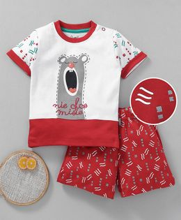 NOQ NOQ Half Sleeves Bear Print Tee & Shorts Set - Red