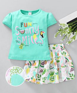 Olio Kids Short Sleeves Top And Skirt Fun Sunny Smiles Print - Sea Green White