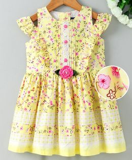 Enfance Core Flower Print Off Shoulder Short Sleeves Dress - Yellow