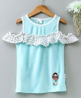 Kookie Kids Cold Shoulder Top Doll Patch - Teal Blue