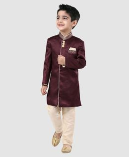 Babyhug Full Sleeves Solid Sherwani - Dark Maroon