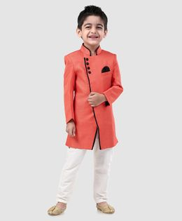 Babyhug Full Sleeves Solid Sherwani - Coral