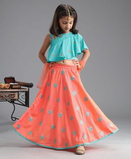 Babyhug Sleeveless Embroidered Choli & Lehenga With Dupatta - Turquoise Blue & Orange