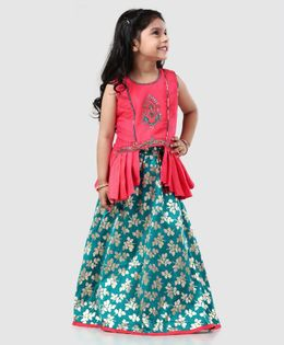 d821a93dee90 Babyhug Sleeveless Choli & Lehenga Set Zardosi Embellishments - Pink Green
