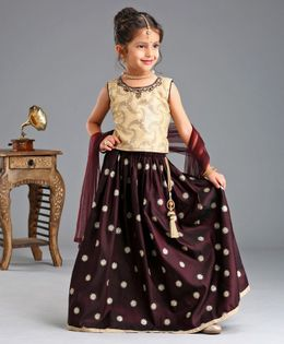 Babyhug Lehenga With Sleeveless Choli & Dupatta Sequin Work - Off White MAroon