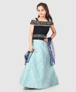 Enfance Short Sleeves Choli With Dupatta & Flower Print Lehenga Set - Navy Blue