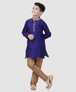 Babyhug Full Sleeves Kurta And Pyjama Self Design - Royal Blue Golden