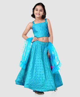 Saka Designs Lehenga Choli Set Mirror Detailing - Blue