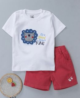 NOQ NOQ Lion Patch Half Sleeves Tee & Shorts Set - White