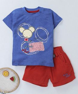 NOQ NOQ Rat Print Half Sleeves Tee & Shorts Set - Blue